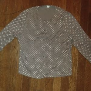 NWOT Garnet Hill Taupe/Cream Dotted Cardigan XL
